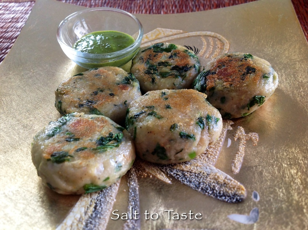 Spinach tikki 2 July 2014