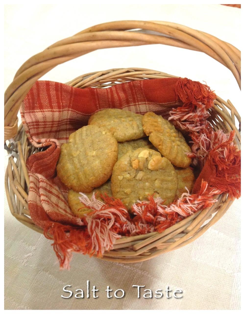 Eggless whole wheat kaju cookies