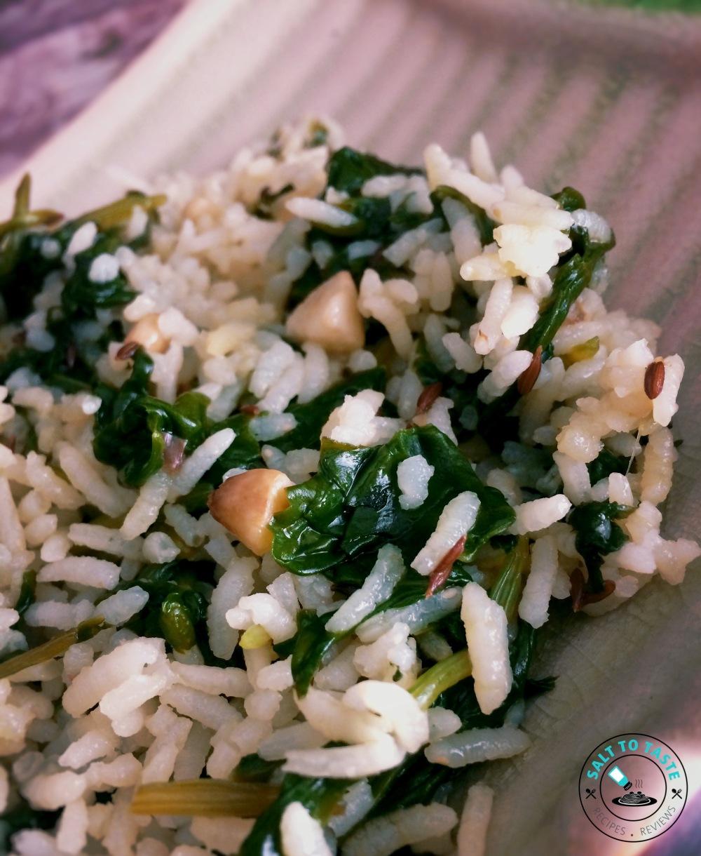 Burnt Garlic Spinach Rice