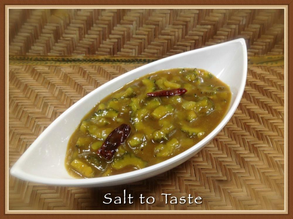 Konkani Karela raw mango Curry